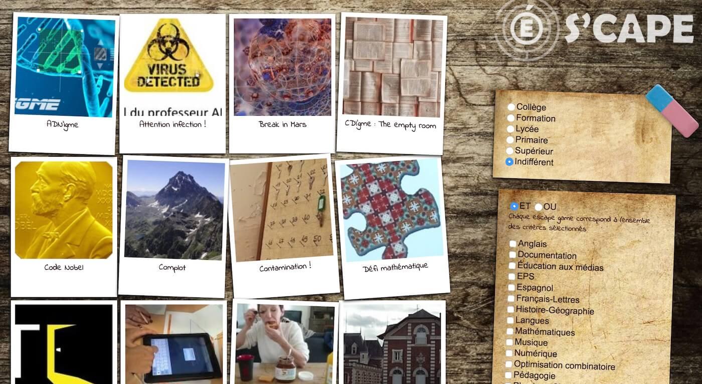 Super S'CAPE : une plateforme de partage d'escape games pédagogiques ZG31