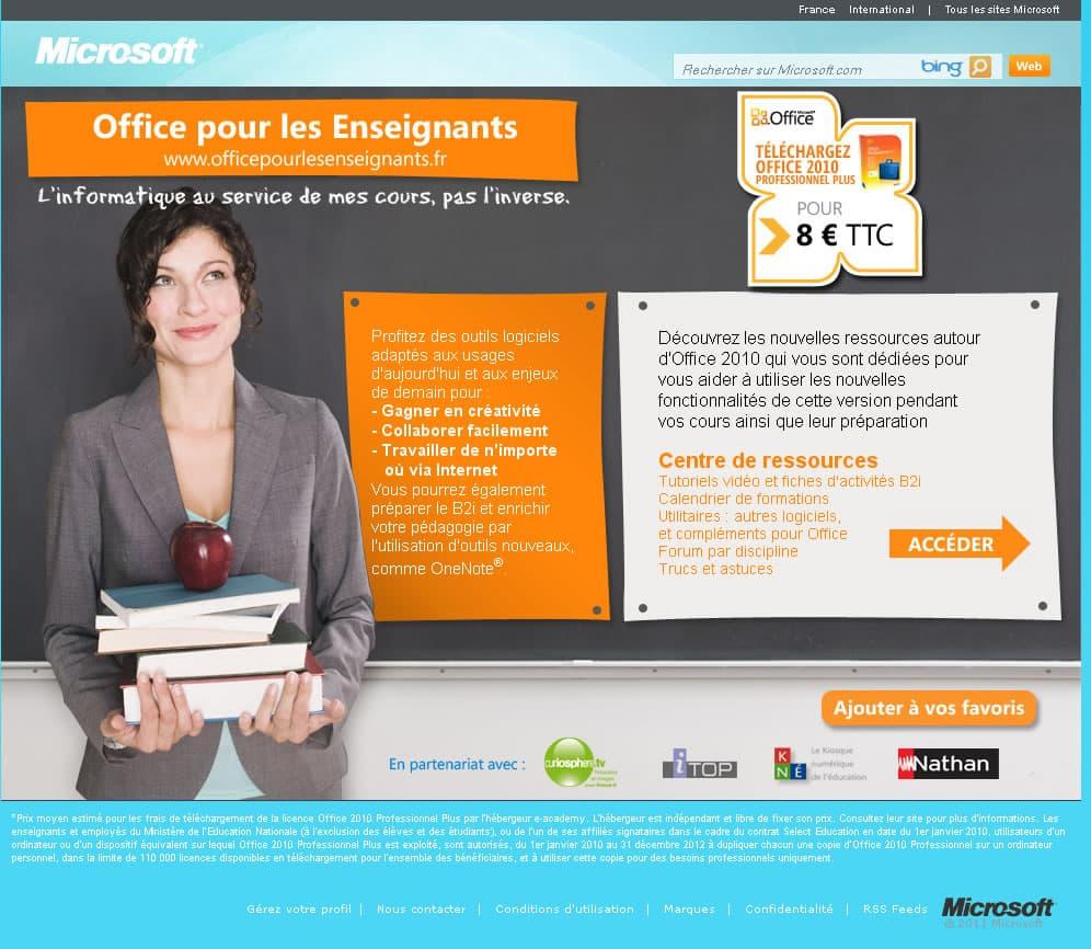 Microsoft office 2010 8 euros pour les enseignants - Office education nationale ...