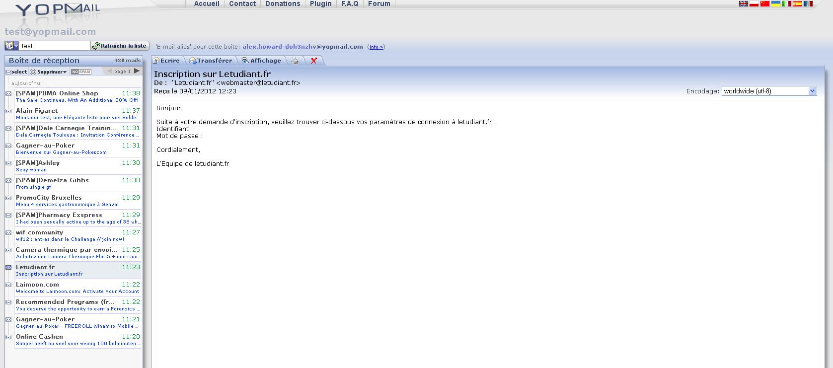 Créer une adresse E-mail jetable avec Yopmail