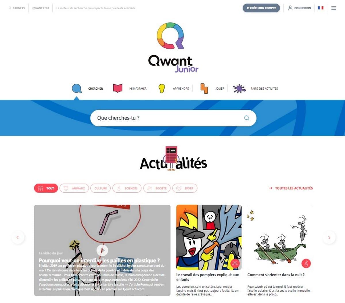Qwant Junior page