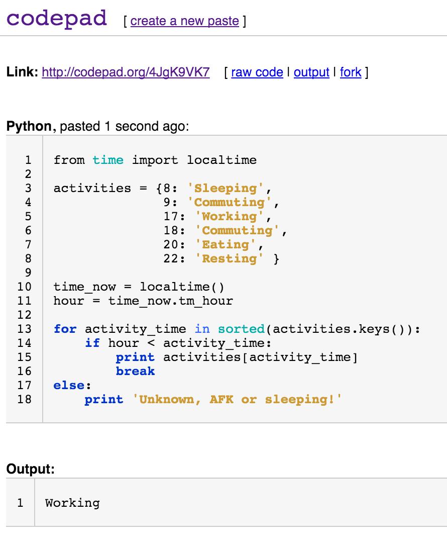 codepad org : un compilateur ou interpréteur en ligne